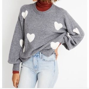 Madewell Heart-Dot Balloon Sleeve Pullover Sweater